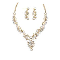 Just $11.99 at  Dawn's This & That Online. https://dawns-thisthat.com. Free standard shipping. 5 star quality products. Please like share and tag your friends. Sharing is caring.  :)  Pearl Rhinestone Necklace   Earrings