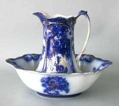 Antique Pitcher and Bowl Set | 229: Antique Blue & White Water Pitcher and Bowl Set