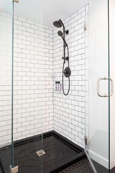 Open-Concept Home Makeover With Pops of Color - Model Remodel, Seattle, WA White Subway Tile Shower, Shower Remodel, Shower Tile, Black Shower, Bathroom Interior Design, Bathroom Remodel Master, Bathroom Makeover, White Subway Tile, Bathroom Decor