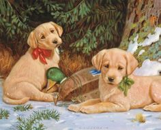 Christmas Puppy, Christmas Art, 2015 Wallpaper, Dog Puzzles, Lab Puppies, Christmas Paintings, Dog Paintings, Wildlife Art, Dog Portraits