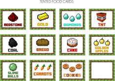 minecraft food cards