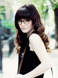 straight bangs with glasses brunette - Google Search