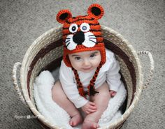 Free Crochet Tiger Hat Pattern.  It's so adorable it makes me want to learn how to crochet!  Source: Repeat Crafter Me.