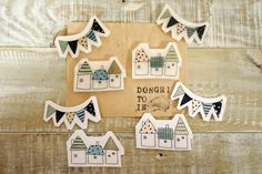 House and buntings brooches