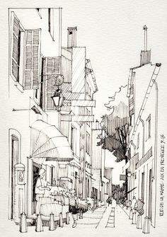 coloring pages - Join buildyful com the global place for architecture students ~~JR Sketches Luberon, France 2013 1 Set 2013 Today Pin Art Sketches, Art Drawings, City Sketch, Building Sketch, Perspective Drawing, Sketch Painting, Watercolor Paintings, Watercolor Trees, Watercolor Portraits