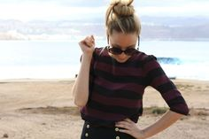 Absolutely love the striped top with the nautical inspired pants... Perfection.