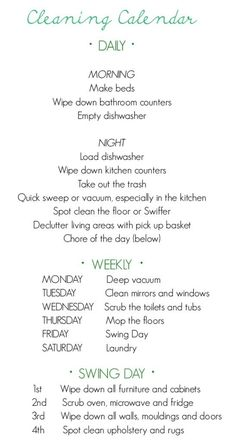 CLEANING CALENDAR!  I SO NEED TO LIVE BY THIS!