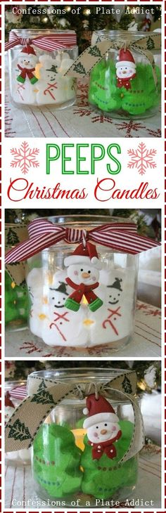 Could do this inside Apothecary Jars without candles. Fun and Easy Peeps Christmas Candles