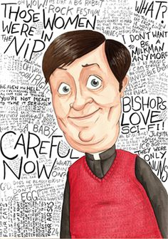 father ted dougal with tv British Tv Comedies, British Comedy, Ted Meme, Mrs Browns Boys, Father Ted, Comedy Tv Shows, Uk Tv, Caricature Drawing, Rock Festivals
