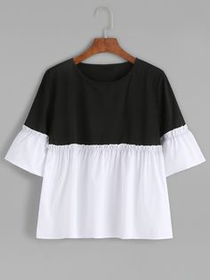 Color Block Bell Sleeve Ruffle Hem Blouse
