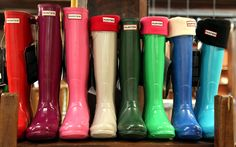Rainbow Hunter Wellies, available at Liberty. Smith staffers B B B Morris and Squires Squires Williams Typist // Rachel Carr have been wearing theirs to our London HQ all week! Cute Shoes, Me Too Shoes, Preppy Style, My Style, Hunter Rain Boots, Rainy Season, Vogue, Walk This Way, Crazy Shoes
