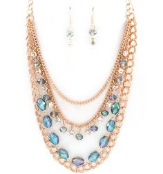 Becca Necklace in Blue Vitrail on Emma Stine Limited   Love this one, it's like stacking all in one piece.  Gorgeous.
