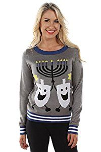#10: Women's Ugly Christmas Sweater - The Hanukkah Sweater Blue