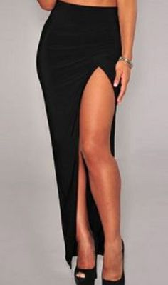 Comfy + Sexy! Sexy Black Stretch High-Waisted Solid Color Furcal Women's Maxi Skirt