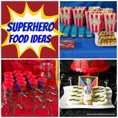 Superhero Party Food Ideas - Great collection of ideas for Batman, Spiderman and Superman from Meaningful Mama