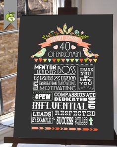 Retirement gift printable Boss gift retirement by TheArtyApples More