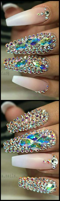 Rhinestone #nails @haha_nails_ More