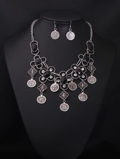 Fashion vintage silver coin tassel chunky necklace and earrings set wholesale