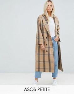 ASOS PETITE Wool Coat in Check