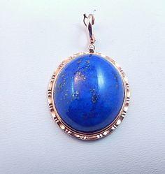 Enhancer Pendant 14K gold Lapis Lazuli Gemstone by SecondImpulse