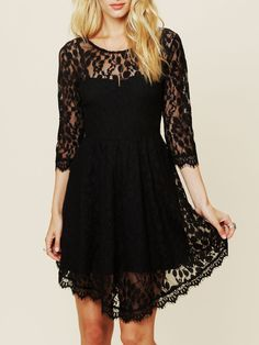 Round Neck Soluble Flowers Lace Black Dress 17.33