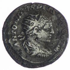 Caracalla Antoninian ZF, Av: ANTONINVS PIVS AVG GERM, Brustbild mit Strahlenkrone nach rechts, Rv: MARS VICTOR Mars nach rechts schreitend