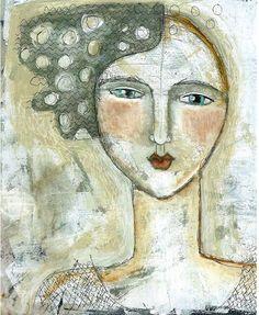 Mixed Media Painting Print  Modern Folk Dream Woman. .