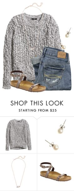 """"""""""" by flroasburn ❤ liked on Polyvore featuring H&M, Abercrombie & Fitch, J.Crew, Kendra Scott and Birkenstock"""