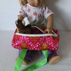"Today's Dollar Store Craft is a mini duffel bag for your dolly (or for yourself!). Your 18""doll can haul her dance clothes to the studio i..."