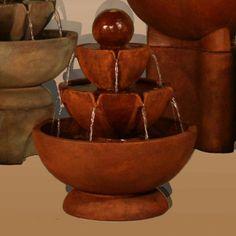 Henri Studio Low Stone Vessels Tier Outdoor Floor Fountain
