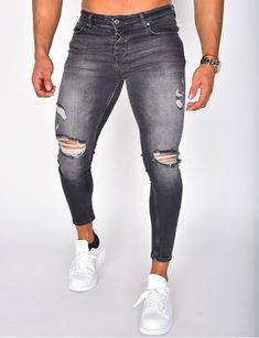 Jeans homme pas cher, jeans Redskins, jean Sixth June - Jeans Industry Men Street Look, Casual Wear, Casual Outfits, Alook, Destroyed Jeans, Men Fashion, Baskets, Curly, Hairstyles