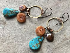 Raw Amber Turquoise Pearl Earrings.