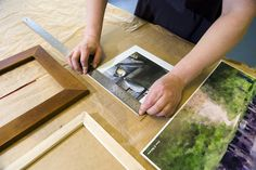 Carefully measuring a frame at Rosie's Frame, How To Make, Picture Frame, Frames