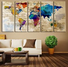 Push Pin Travel World Map Art - Colored Countries Watercolor World Map | Extra Large Wall Art Canvas Print