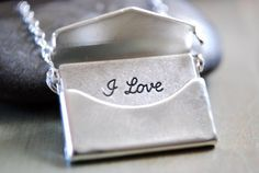 Envelope Necklace with I love you note inside. I love this