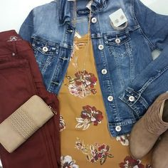 Fall Womens Fashion 2017 Maurices Bring back color! Denim jacket, ankle boots, Floral top, Cranberry Jeggings, Bing Bracelet Womens Accessories!  I help a women pick out this outfit for a work gathering, and we both loved it!