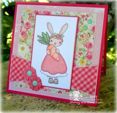 Whimsy and Stars Studio digital & rubber stamps. Card created by Kelly of *Sandcastle Stamper*. Digi stamp used: Daisy Bunny