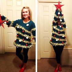 Screw seasonality and go as a Christmas tree. | 21 Unusual Halloween Costumes You Can Make Yourself