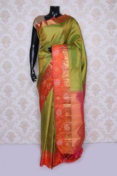 Ravishing mehendi #green pure #kanchipuram #silk zari weaved saree-SR14090 Indian Silk Sarees, Saree Shopping, Traditional Sarees, Indian Attire, Beautiful Saree, Mehendi, Kimono Top, Sari, Trends