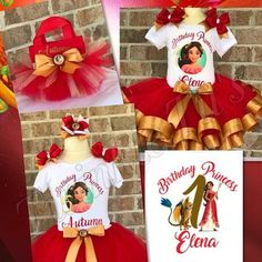 Includes tutu, shirt, and hair bow. (Birthday hat available for additional purchase) Shirt is made with a vinyl image and is personalized with child's name and age at no extra charge. Tutu has an elas