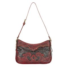 Ladies concealed carry purse. Zip-top structured hobo with an adjustable strap. Inside has a zipper compartment and two pouches. Hidden back wall compartment has zipper openings on either side on the bag for your defense weapon, and is lined in chrome leather. Hand tooled vegetable tanned distressed crimson and chocolate leathers, decorated with a cut out yoke pattern and smooth brass spots. Back is hand tooled chocolate leather.