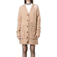 R13 Wool Distressed Knitted Cardigan-1