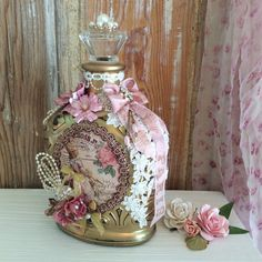 Items similar to Altered bottle, shabby chic Paris, Marie Antoinette style, pink & gold, crown royal xr bottle on Etsy Flores Shabby Chic, Shabby Chic Flowers, Shabby Chic Crafts, Shabby Chic Decor, Diy Flowers, Rustic Candle Holders, Rustic Candles, Bottle Art, Bottle Crafts
