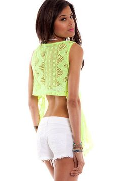 On the Down Low Tank Top in Lime $19 at www.tobi.com