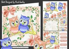 Cute pair of owls peach on a branch of flowers 8x8 mini kit on Craftsuprint - Add To Basket!
