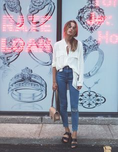 Casually undone. Ripped jeans. Birkenstock Arizona. White shirt. Class is internal by Sonya Esman