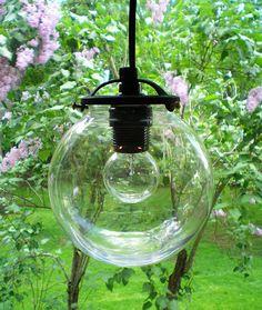 The Tesla III Glass Globe Industrial Pendant Lamp