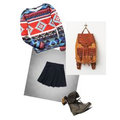 Skater skirt+Aztec print shirt+cute backpack+combat boots=cute spring outfit for teens