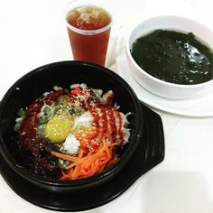 my fav bibimbap and seaweed soup. Seaweed, Soup, Foods, Ethnic Recipes, Food Food, Food Items, Soups
