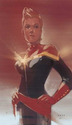 Illustration of Captain Marvel by Phil Noto